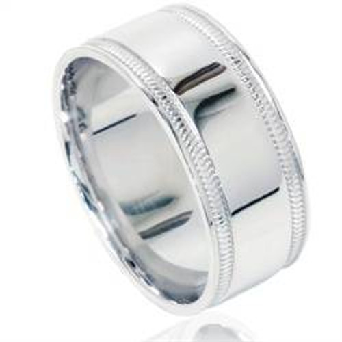 Double Milgrain Inlay Comfort Fit Wedding Band 950 Platinum Mens 8mm Ring