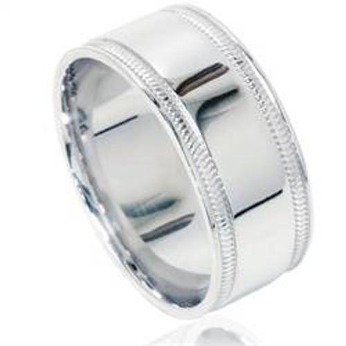 Double Milgrain Inlay Comfort Fit Wedding Band 950 Platinum Mens 8mm Ring