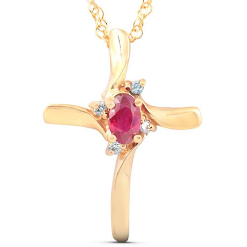 "1/4CT Ruby & Diamond Cross Pendant & Chain 14K Yellow Gold 3/4"" Tall (G/H, I2)"