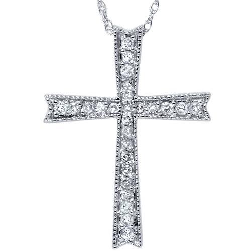 1/4ct Diamond Cross 14K White Gold (G/H, I2)