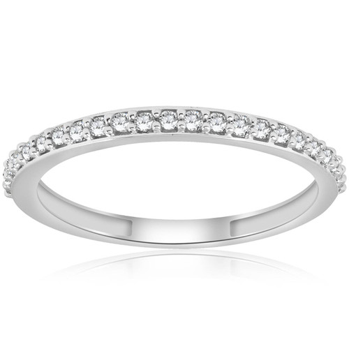 1/8ct Stackable Womens Diamond Wedding Ring 10k White Gold (I/J, I2-I3)