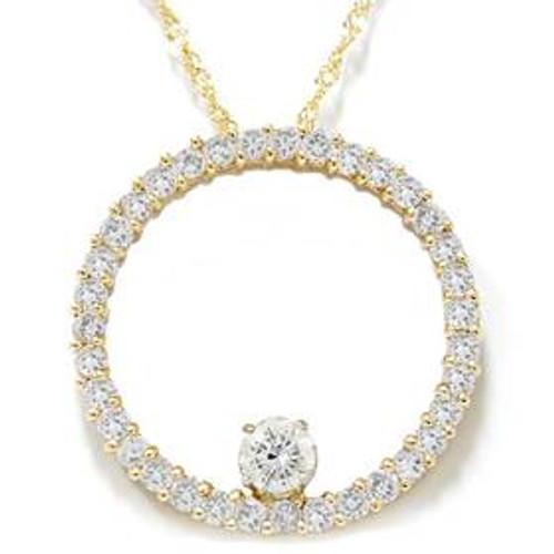 1 1/2ct Circle Of Life Diamond Pendant 14K Yellow Gold (G/H, I1-I2)