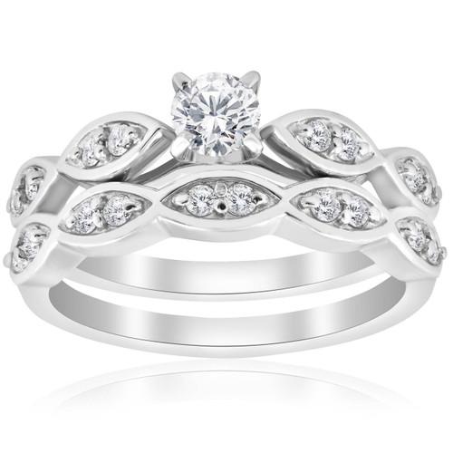 3/4ct Vintage Diamond Engagement Wedding Ring Set 14K White Gold (G/H, I1-I2)