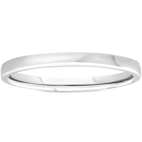 2mm Plain Polished Platinum Comfort Wedding Band