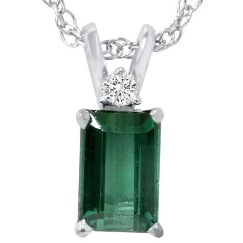 5/8ct Green Tourmaline & Diamond Solitaire Pendant 14K White Gold (G, I2)