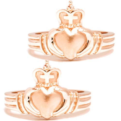 Gold Matching Claddagh Wedding Anniversary Ring Set