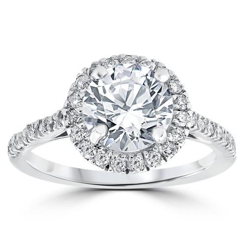2 1/3 ct Round Round Diamond Halo Engagement Ring 14k White Gold Enhanced (G/H, I1-I2)