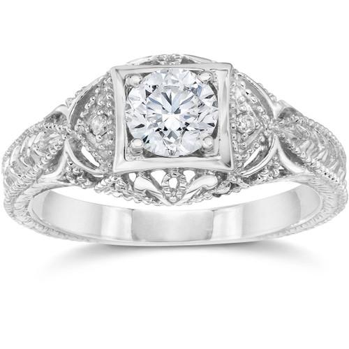 Emery 5/8Ct Vintage Diamond Antique Engagement 14K White Gold (H/I, I1)