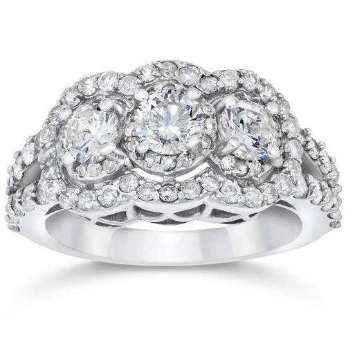 1 1/2ct 3 Stone Halo Genuine 3 Diamond Engagement Ring 14k White Gold (I-J-K, I1-I3)