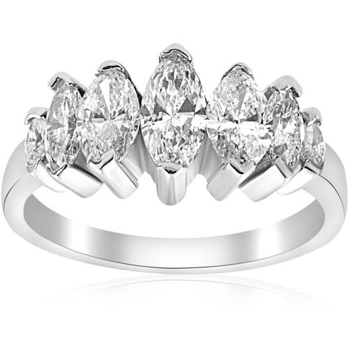 1 7/8ct Huge Marquise Real Diamond Anniversary 14K Ring (G/H, I1)