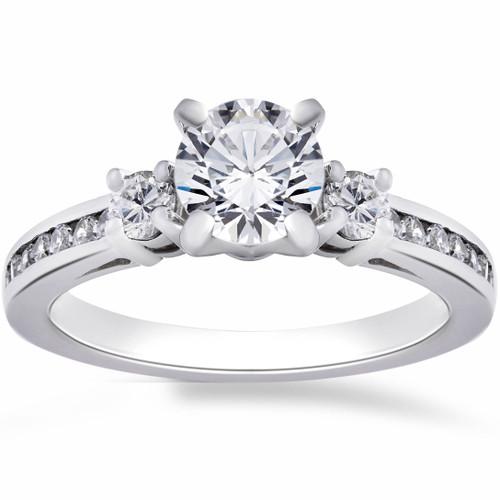 1ct Three Stone Diamond Engagement Anniversary Ring 14K White Gold (G/H, I1)