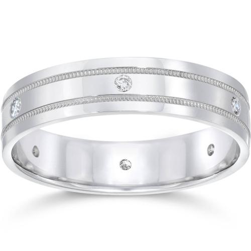 Mens Platinum Diamond Comfort Fit 6mm Wedding Band (G, SI)
