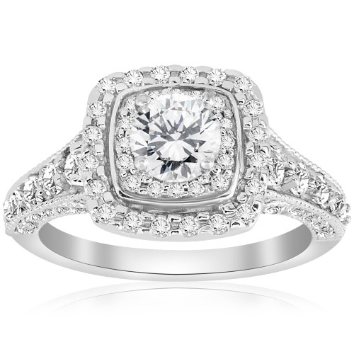 1 1/2ct Double Halo Cushion Vintage Diamond Engagement Ring 14K White Gold (G/H, SI)