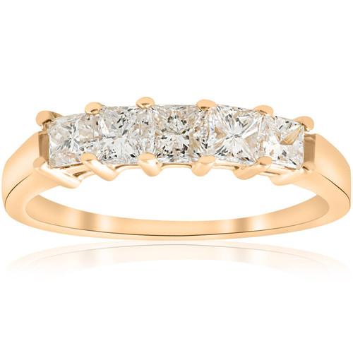 1ct Princess Cut Diamond Anniversary 14K Gold Ring (G/H, I1)