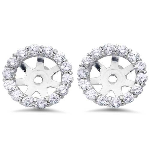 7/8ct Diamond Halo Stud Earring Jackets Solid 14K White Gold (6-6.7mm) (G-H, SI)