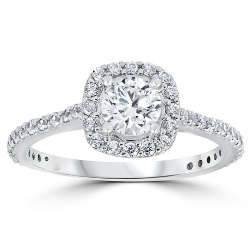 1 1/5ct Round Diamond Cushion Halo Engagement Ring 10k White Gold (G/H, I1-I2)