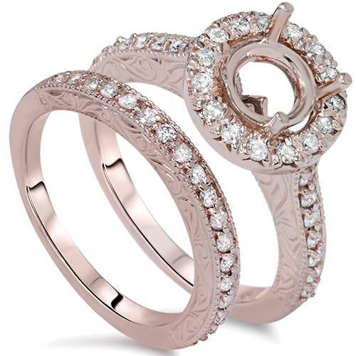 1ct Vintage Engagement Wedding Ring Semi Mount Set 14K Rose Gold (G/H, I1-I2)
