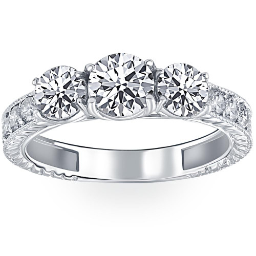 1 3/4ct Vintage Three Stone Round Diamond Engagement Ring 14K White Gold (H, I1)