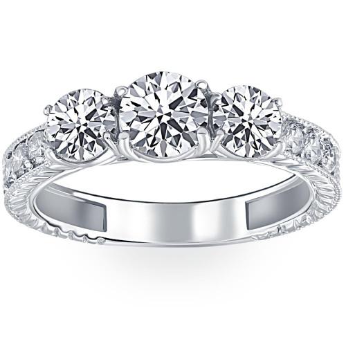 1 3/4ct Vintage Three Stone Round Diamond Engagement Ring 14K White Gold (H, I1)