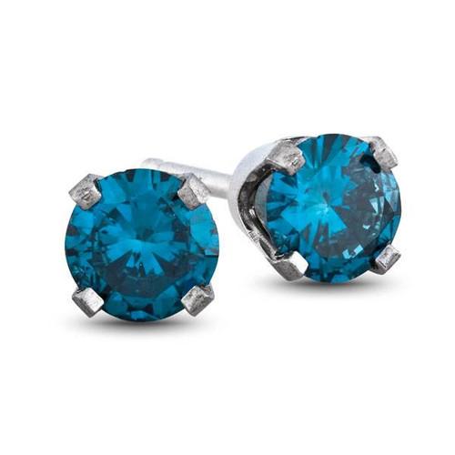 1/3ct Blue Diamond Studs 14 Karat White Gold (Blue, I1)