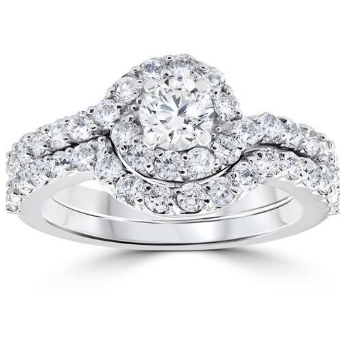 1 1/2ct Diamond Engagement Halo Curve Ring Set 10K White Gold (I/J, I2-I3)