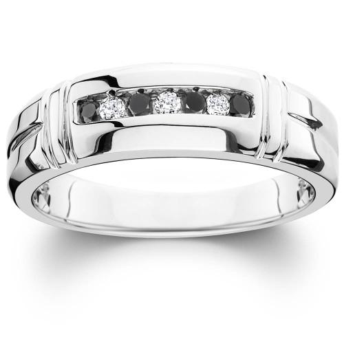 1/3ct Black & White Diamond Mens Wedding Ring 10K White Gold (H/I, I1-I2)