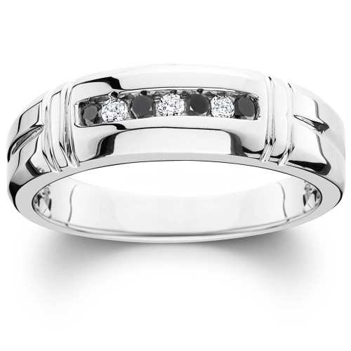 1/3ct Black & White Diamond Mens Wedding Ring 10K White Gold (H/I, I1-I2)
