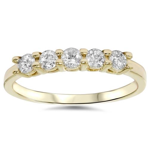 3/4ct Diamond 5-Stone Wedding Anniversary 14K Yellow Gold Ring (G/H, I1)