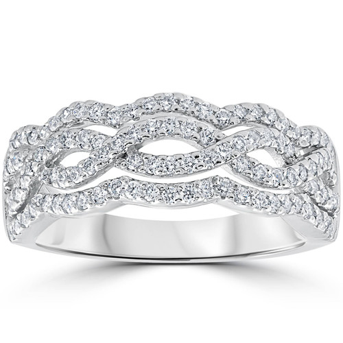 .67ct Diamond Multi Row Infinity Cross Over Ring 14k White Gold Size 7 (F/G, VS)