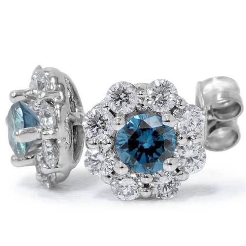 1 1/2ct Halo Fire Blue & White Diamond Studs 14K White Gold (G/H, I1)