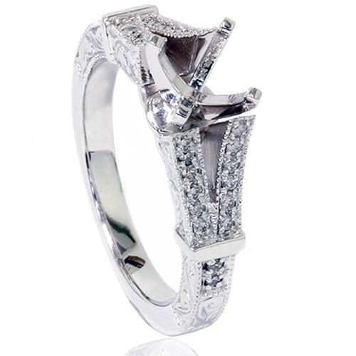 1/5ct Split Shank Vintage Diamond Semi Mount Engagement Ring 14K White Gold (G/H, SI)