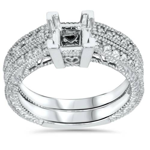 1/4ct Princess Cut Diamond Engagement Ring Setting 14K (G/H, I1)
