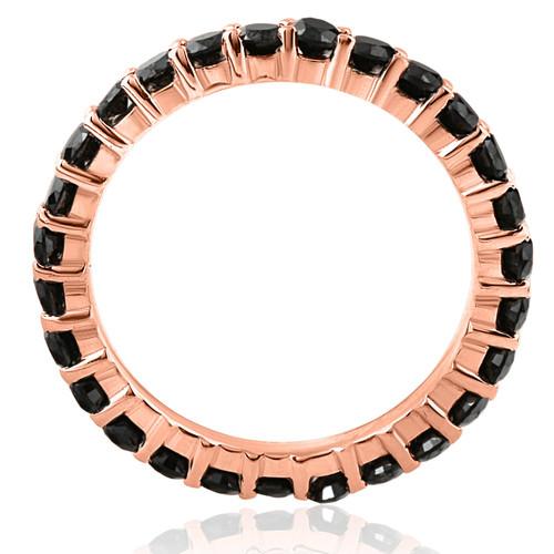 Black Diamond Eternity Ring 14K Rose Gold 1 1/2 Carat Womens Wedding Stackable (Black, AAA)