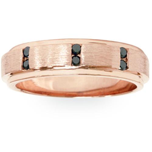 1/8ct Mens Rose Gold Brushed Treated Black Diamond Wedding Ring 14k (Black, AAA)
