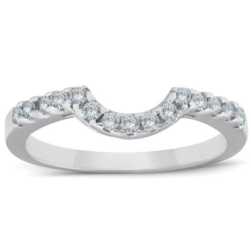 .25CT Curved Diamond Notched Wedding Ring Enhancer 10K White Gold (H, I2-I3)