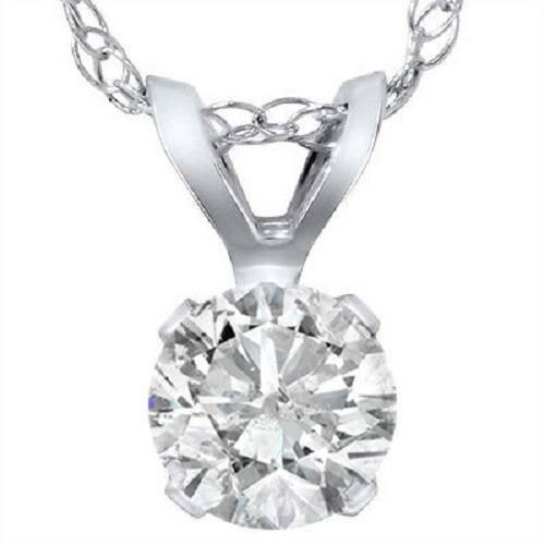 .90 Carat Solitaire Pendant Natural Diamond 14K White Gold Womens Necklace (H-I, I2-I3)