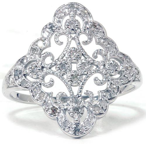 1/5ct Vintage Diamond Ring 10K White Gold (G/H, I2-I3)