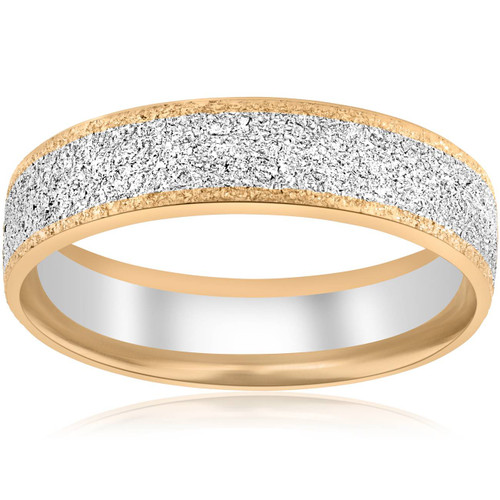 14k White & Yellow Gold Mens 6mm Two Tone Comfort Fit Texture Wedding Band