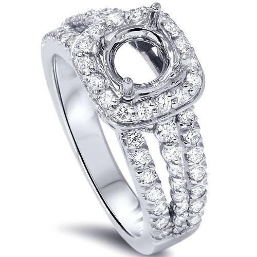 3/4ct Cushion Halo Diamond Engagement Ring Setting 14K White Gold (G/H, SI1-SI2)