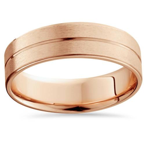 14K Rose Gold Mens Brushed Flat Wedding Band 6mm