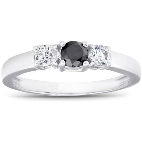 1/2ct Black & White Diamond 3-Stone Engagement Ring 10K White Gold (G/H, I2)