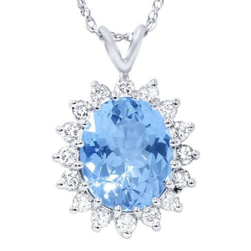 5 1/2ct Blue Topaz Diamond Pendant 14K White Gold (G, I1)