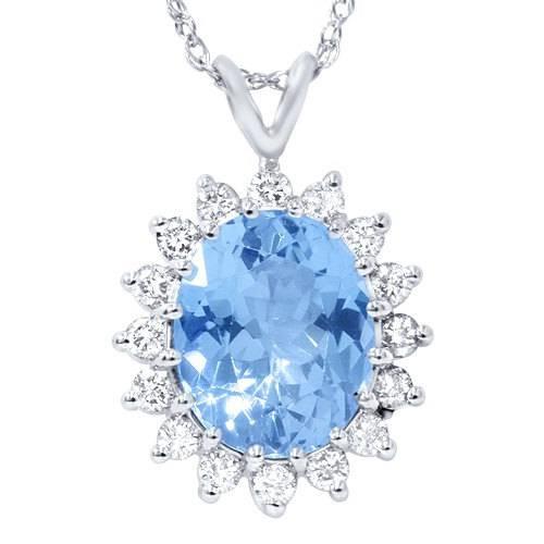 5 1/2ct Blue Topaz Diamond Pendant 14K White Gold (G, I1)