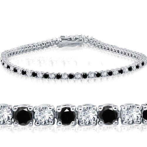 "3ct Black & White Diamond Tennis Bracelet 7"" 14K White Gold (K-L-I2,I3) (G/H, I1)"