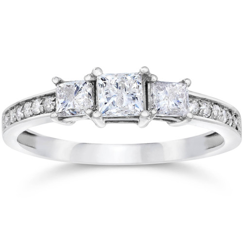 Princess Cut Diamond Three Stone Engagement