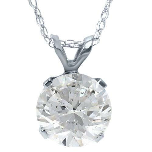 "1 1/2ct Solitaire Diamond Pendant Necklace & 18"" Chain Round Cut ((D), I(1))"