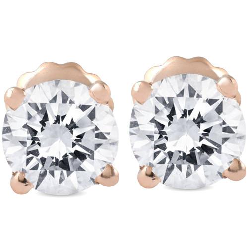 3/4 cttw Diamond Studs 14k Rose Gold Screw Back Studs (G/H, SI2-SI3)