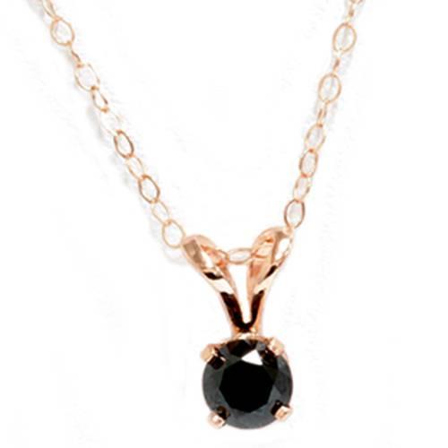 5/8ct Black Diamond Solitaire Pendant Necklace 14K Gold (Black, AAA)