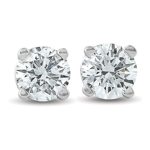 3/8 Ct TDW 14k White Gold Lab Created Diamond Studs Screw Back Earrings (I, VS)