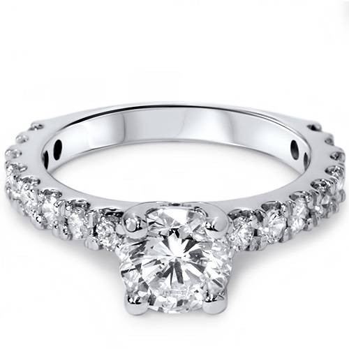 1 1/2ct Round Cut Enhanced Diamond Engagement Ring 14K White Gold (G/H, I1)